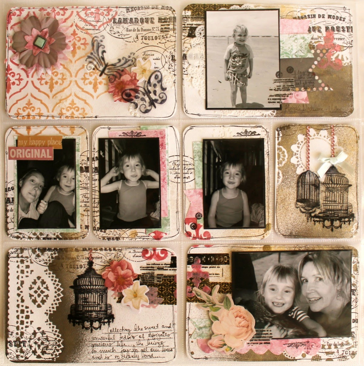 Abigail Misc Me Spread by Bernii Miller using BoBunny Sticky Stencils and Madeline Collection.