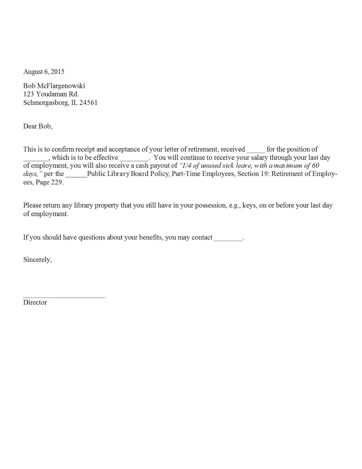 sample retirement acceptance letter