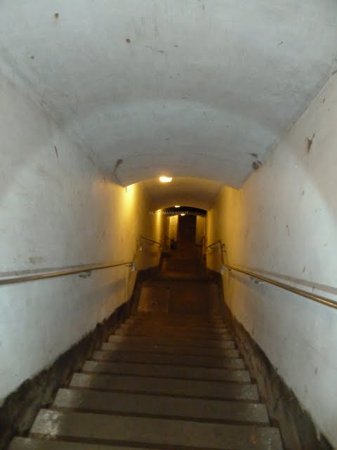 A stairway 30 meters down into the deep at Fort de Tancrémont, Belgium