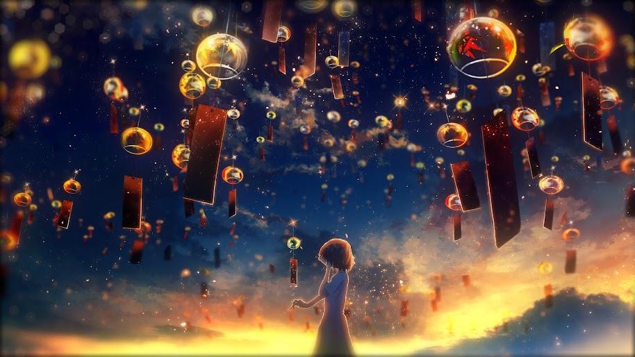 Anime, Girl, Crying, Sunset, Sky Lantern, 4K, #155
