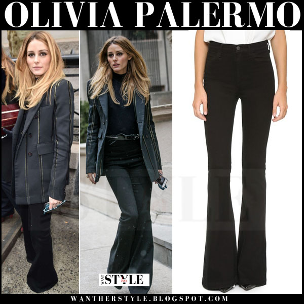 Olivia Palermo in black blazer and black flared goldsing jolene jeans what she wore new york fashion week