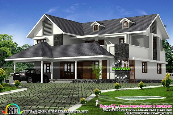 2529 sq-ft modern sloping roof home