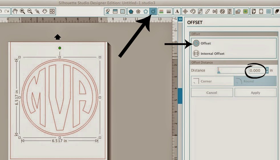 Circle monogram, two, one cut, Silhouette Studio, Silhouette tutorial, offset tool