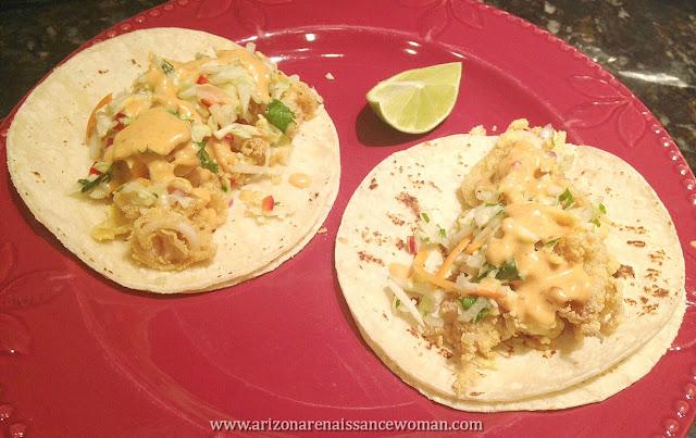 Buttermilk-Marinated Calamari Tacos with Jicama-Cabbage Slaw and Chipotle-Honey Aioli (2)