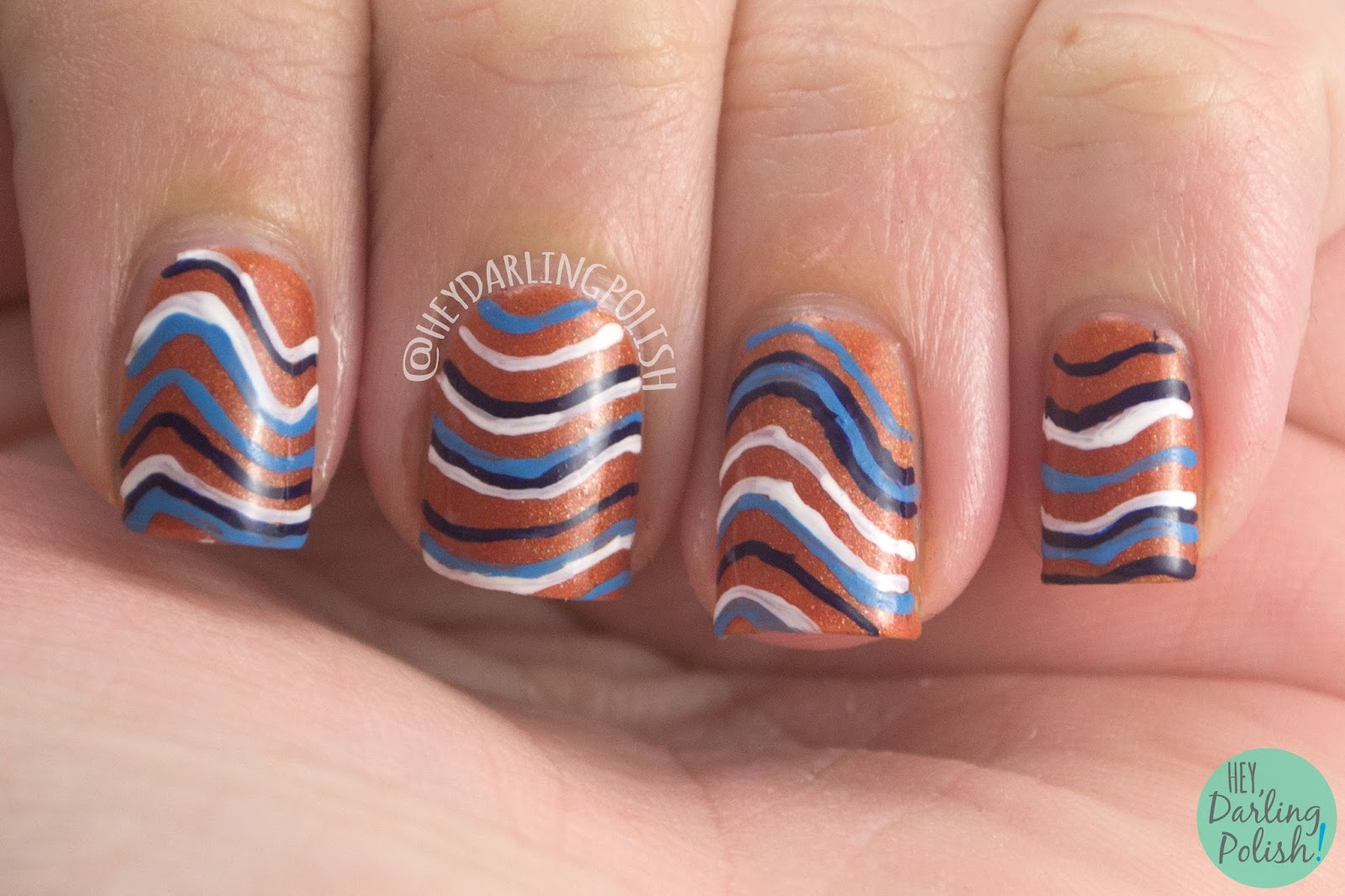 nails, nail polish, nail art, stripes, waves, hey darling polish, the nail challenge collaborative