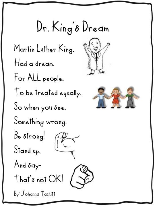 Preschool Martin Luther King Poem