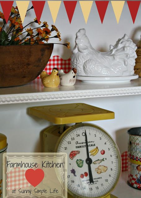 red and yellow kitchen, chicken decor