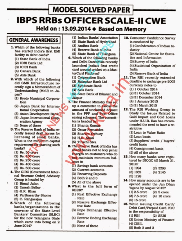 Ibps Rrb Clerk 2014 Question Paper Pdf