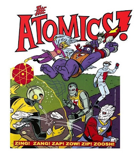 The Atomics blasting and running towards their foe, including one member swinging from the elastic arms of another, below 'The Atomics' logo