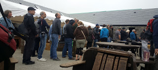 People queuing for the festival bottle