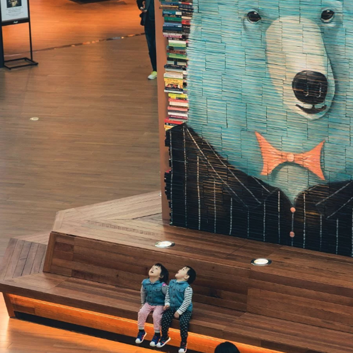 A bookstore in Seoul creates large mosaics with books