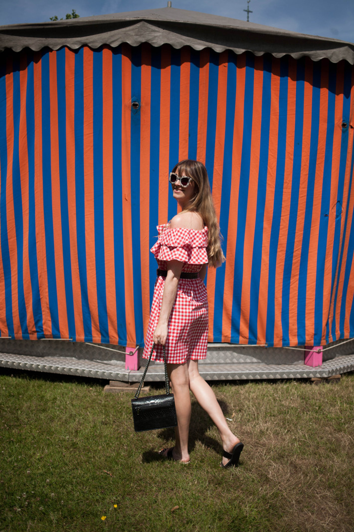 Outfit: Gingham off shoulder dress, Moschino belt
