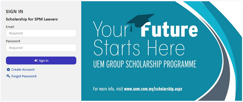 Apply UEM scholarship online