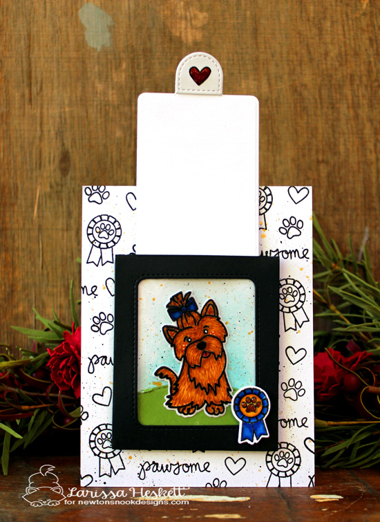 Magic Slider dog card by Larissa Heskett | Terrific Terriers | Dog Stamp Set by Newton's Nook Designs #newtonsnook