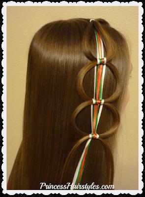 Ribbon chain braid or ribbon hair loops video tutorial.