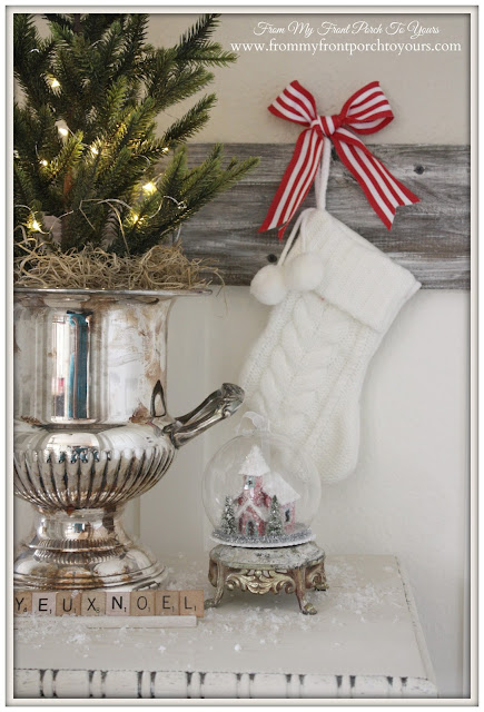 Christmas Vignette-Christmas Decorations-Mini Stocking-Scrabble Letters-From My Front Porch To Yours