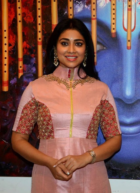Shriya Saran inaugurates Rakhi Baid's Art Exhibition in Pink Anarkali