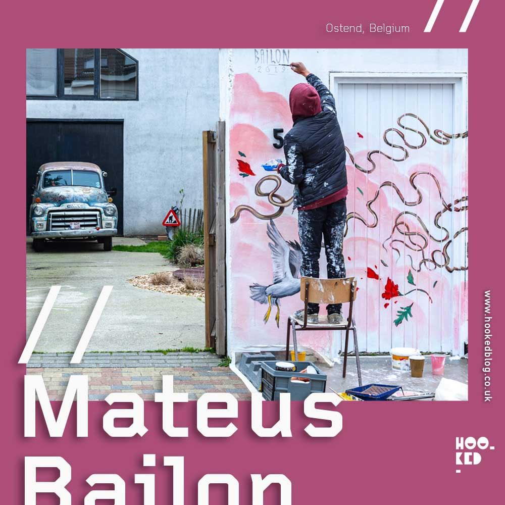 Brazilian street artist Mateus Bailon paints a new Mural in Ostend, Belgium