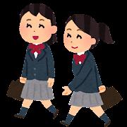 通学している女子学生のイラスト(ブレザー)