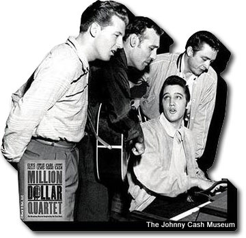 Quarteto de 1 milhão de Dólares (Elvis Presley, Johnny Cash, Jerry Lee Lewis e Carl Perkins), no Johnny Cash Museum