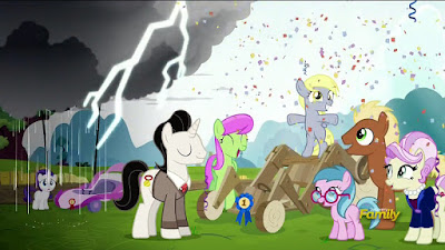 Flashback to Derpy beating Rarity