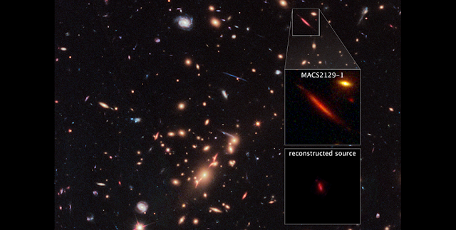 "Acting as a ""natural telescope"" in space, the gravity of the extremely massive foreground galaxy cluster MACS J2129-0741 magnifies, brightens, and distorts the far-distant background galaxy MACS2129-1, shown in the top box. The middle box is a blown-up view of the gravitationally lensed galaxy. In the bottom box is a reconstructed image, based on modeling that shows what the galaxy would look like if the galaxy cluster were not present. The galaxy appears red because it is so distant that its light is shifted into the red part of the spectrum. Credits: NASA, ESA, M. Postman (STScI), and the CLASH team"