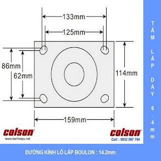 Bảng vẽ kích thước tấm lắp bánh xe đẩy công nghiệp chịu tải trọng nặng (540~680kg) :