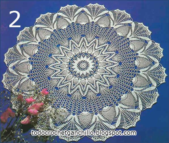 carpeta o tapete circular para tejer al crochet con terminación de piñas