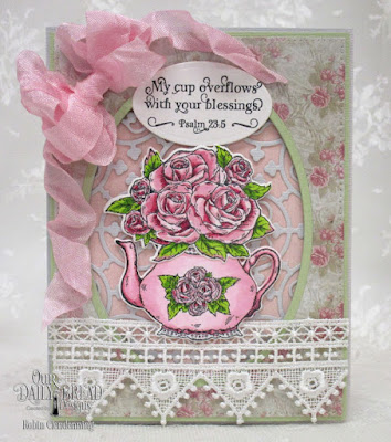 Our Daily Bread Designs, Tea Time, Majestic Medallions, Pierced Rectangles, Ovals, Tea Pot and Roses, Shabby Rose Collection, by Robin Clendenning