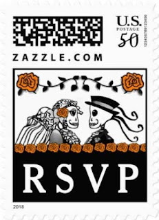 Halloween Wedding Skeletons Custom Postage RSVP Orange Roses Horizontal Small Postage