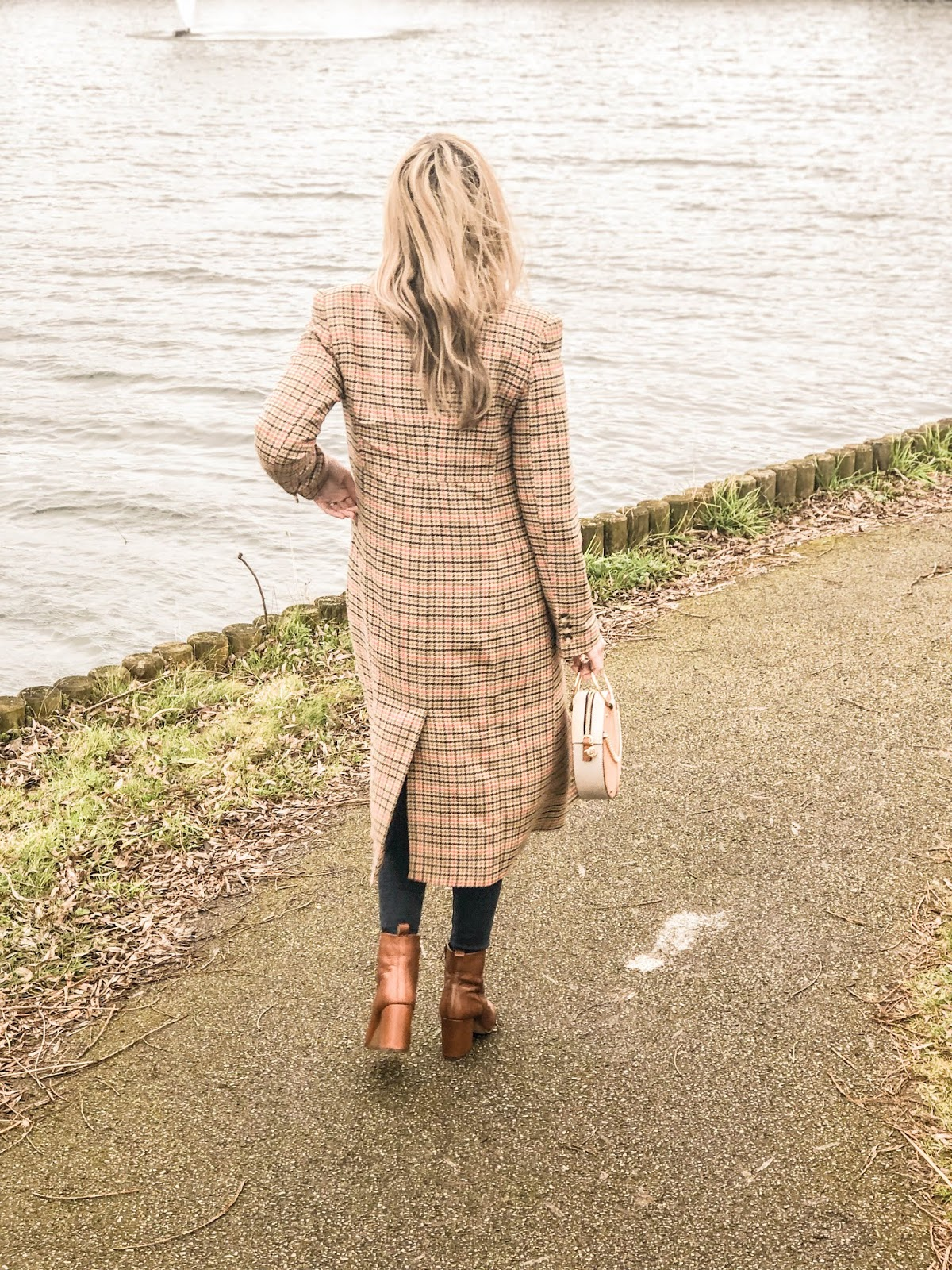 Checked coat and ankle boots outfit