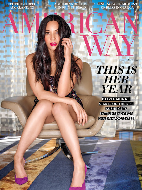Actress, Model, @ Olivia Munn for American Way Magazine May 2016