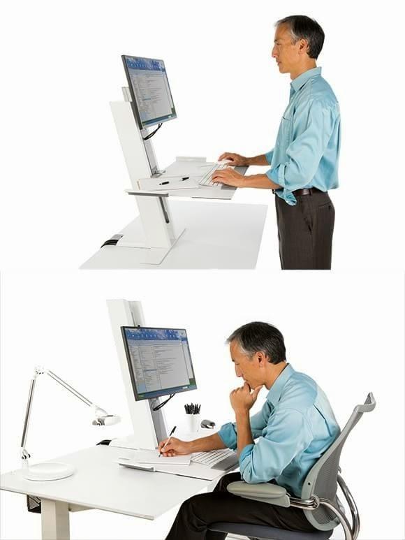 Mesa adaptada que possibilita o mudança da postura na frente do computador