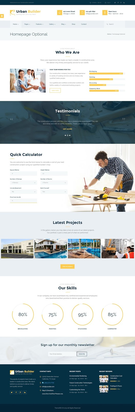 Premium Responsive Construction WordPress Theme 2015