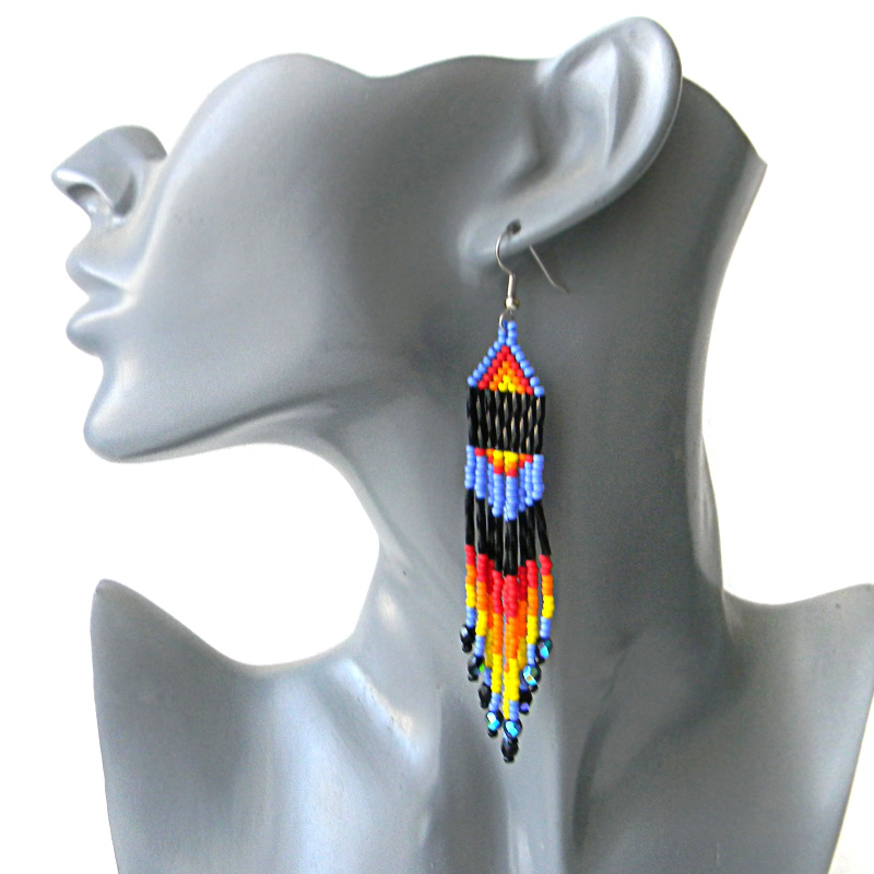 seed bead earrings beading beadwork jewelry fringe earrings