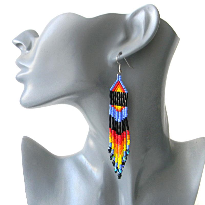 seed bead earrings beading beadwork jewelry fringe earrings