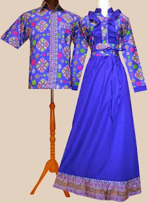 Model Gamis Batik Kombinasi Satin sarimbit