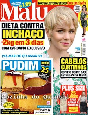 Paula Mello na Revista Malu Receitas - Coluna Papo de Cozinha Pudins