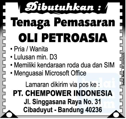 Lowongan Kerja PT. CHEMPOWER INDONESIA