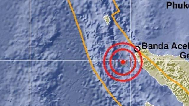 Grafis lokasi gempa di Aceh.