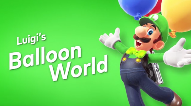 Super Mario Odyssey Luigi's Balloon World arms open wide bow-tie