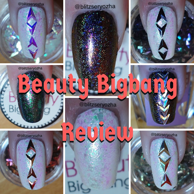 Collage of swatches of Beauty Bigbang products
