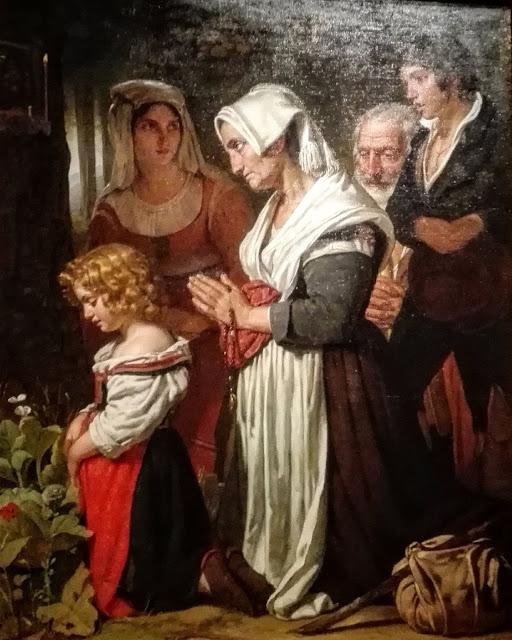 Schilderij Godsvrucht met een gezin dat de rozenkrans bidt.