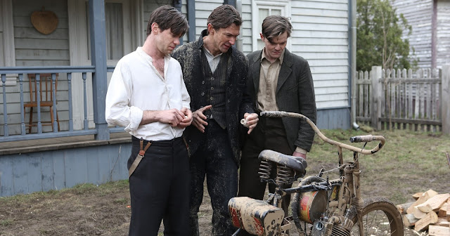 L-R, Bug Hall (as Arthur), Michael (as Walter), Robert Aramayo (as Bill Harley)