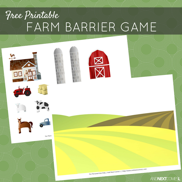Free printable farm themed barrier game for kids from And Next Comes L