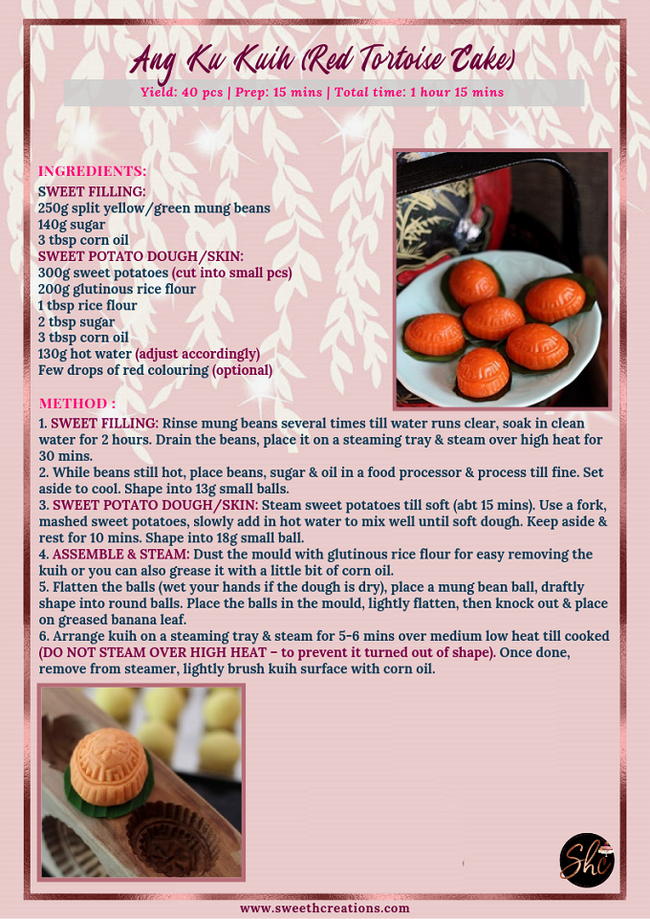 ANG KU KUIH (RED TORTOISE CAKE) RECIPE