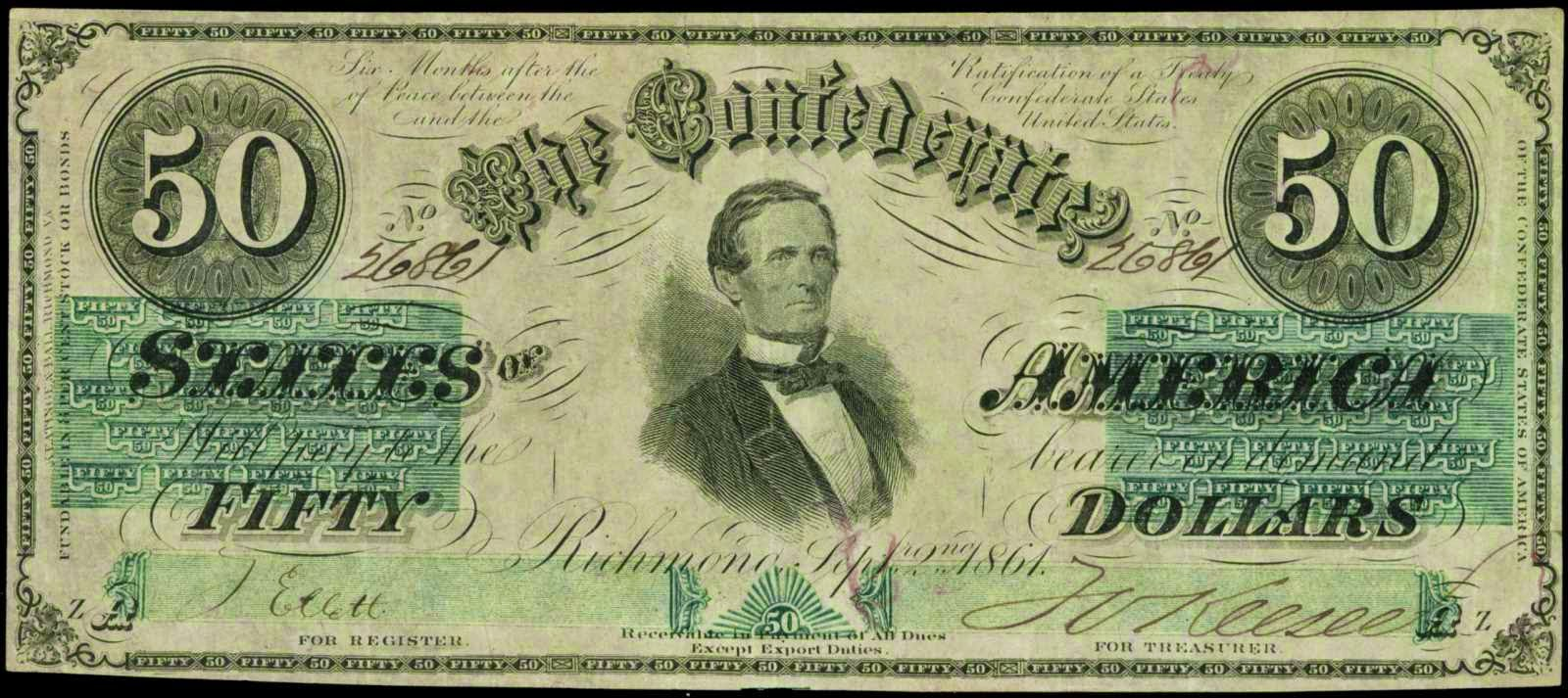 Confederate Paper Money Currency 1861 50 Dollar Bill Jefferson Davis T-16