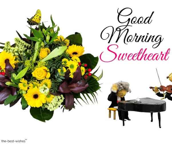 good morning sweetheart image with bouquet