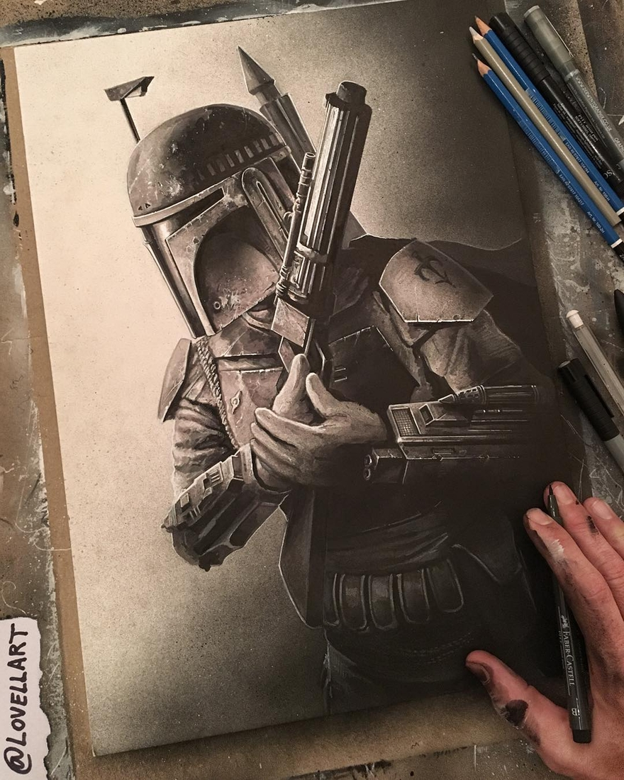 10-Boba-Fett-Christopher-Lovell-Character-Drawings-Portraits-and-Monsters-www-designstack-co
