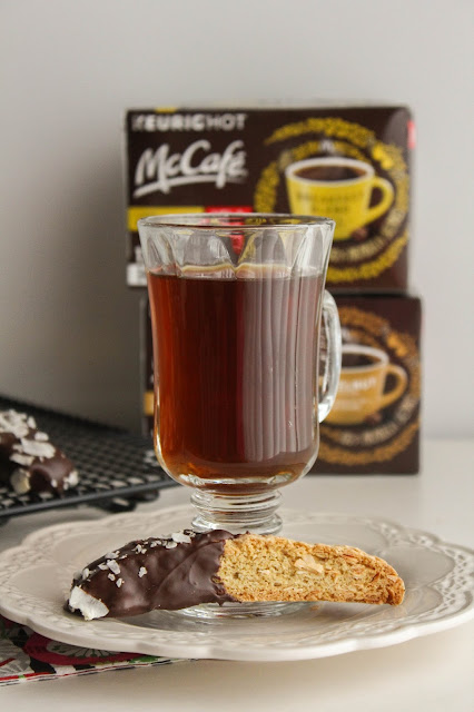 Chocolate Dipped Coconut Biscotti | The Chef Next Door #McCafeAtHome